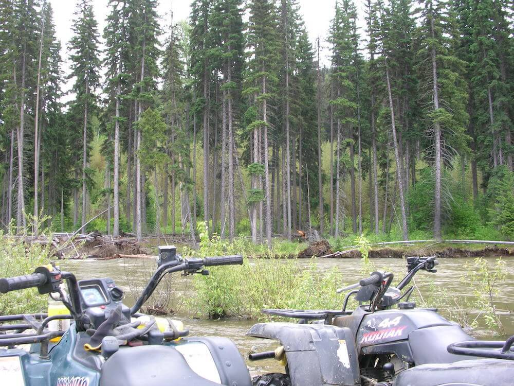 the atvs overlooking a manning swamp patch
